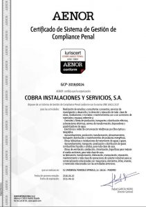 "Cobra obtains the UNE 19601 ""Certification of Criminal Compliance"""