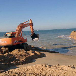 Enterramiento de gasoducto de salida del campo produccion de gas en Huelva