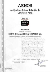 """Grupo Cobra obtiene la Certificación de la Norma UNE 19601 """"Sistemas de Gestión de Compliance Penal"""""""
