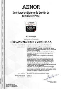 "Cobra obtains the UNE 19601 ""Certification of Criminal Compliance"""